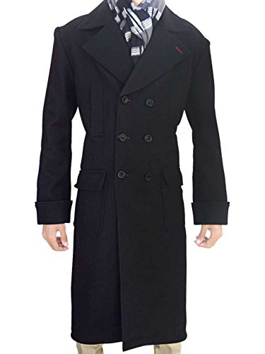 Cumberbatch Sherlock Costume (Men Benedict Cumberbatch Sherlock Holmes Black Wool Trench Costume Coat)