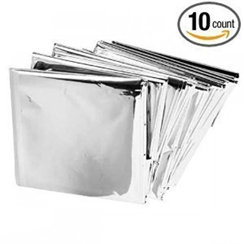 10 Packs Mylar Emergency Solar Blanket Aluminized Polyethylene 54