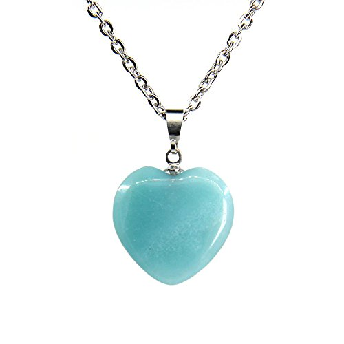 Natural Blue Amazonite Gemstone Heart Charm Pendant Necklaces 18