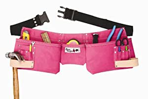 Born Tough 4-PRW 9-pocket Suede Leather Women's Pink Tool Belt / Tool Apron