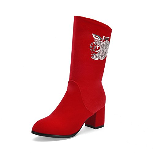 Allhqfashion Women's Solid Imitated Suede Kitten-Heels Zipper Round Closed Toe Boots Red