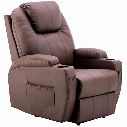 Mcombo Electric Power Recliner Chair Sofa with Massage and Heat for Living Room, 2 Positions, 2 Side Pockets and Cup Holders, Faux Leather 7050 (Light Brown)