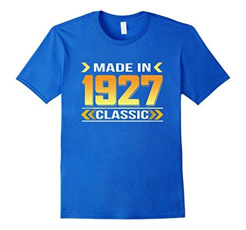 1927 Art (Mens Vintage 1927 birthday pop art shirt Small Royal Blue)