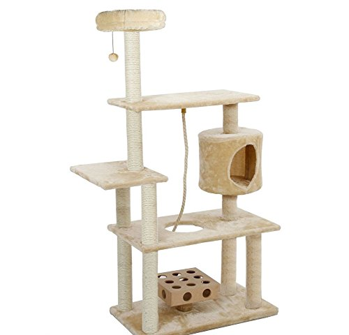 1 Piece Off White 55 High Comfort Scratcher Cat Condo, Cream Color Pet Tree House Kitty Perch Cave Bed, Deluxe Playground Bungee Ball Iq Toy Elevated Safe Surface Fun Traditional, Sisal Rope