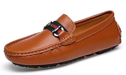 Tda Menns Classic Comfort Striper Skinnkjøre Loafers Båt Sko Brune
