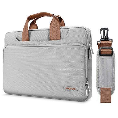 MOSISO 360° Protective Laptop Shoulder Bag Compatible 14-15.6 Inch 2018 2017 2016 MacBook Pro Touch Bar A1990 A1707, ThinkPad Chromebook, Polyester Briefcase Sleeve with Back Trolley Belt, Gray