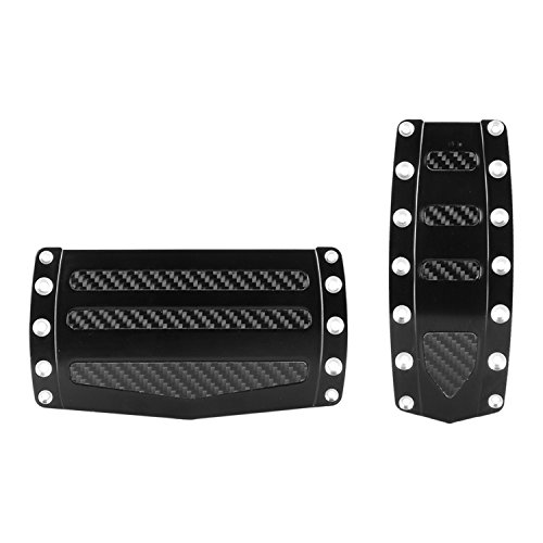 2366E2 Black Anodized Aluminum Pedal Pads with Carbon Fiber Look Inserts - 2 Piece, 1 Pack ()
