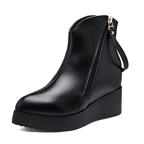 WeenFashion Women's with Cow Leather High-Heels Round-Toe Boots with Women's Wedge and Platform B016HU2D2Y Parent e3bd2d
