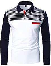 Men's Long Sleeve Polo Shirts Classic Casual Zipper Contrast Color Golf Blouse Fashion Soft Slim Fit Tops