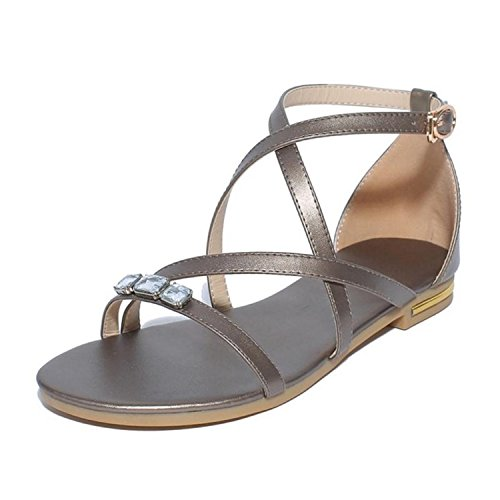 33 Summer Perfues Women 46 Sandals Leather Ankle Shoes Size Solid Real Strap Beach Bronze Flats Women Color Shoes qqYRw5