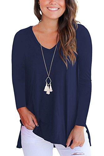 Manica T V blu T Maglietta lunga navy Dasbayla orlo irregolare maniche corte con a con scollo a shirt shirt 8wknOX0P