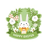 Cyhulu Creative Window Wall Decal, 2019 New Cartoon Happy Easter Rabbit Egg 3D Mural Vinyl Stickers for Baby's Bedroom Living Room Home Office Wall DIY Art Decoration (B, One size)
