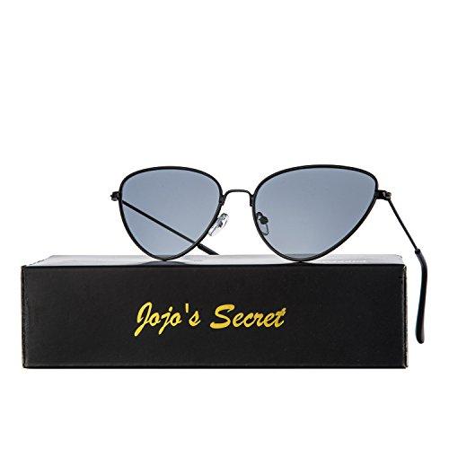 JOJO'S SECRET Cat Eye Mirrored Sunglasses,Colorful Lens Sunglasses For Women JS002 (Black/Grey, - 2017 Colorful Sunglasses