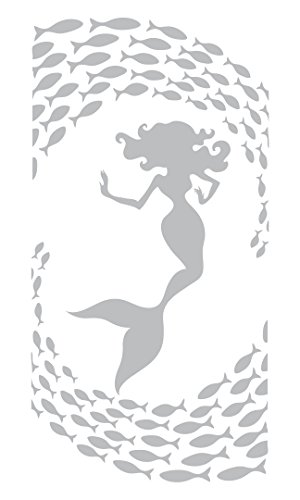 Mermaid Amidst the Dancing Fish - Coastal Design Series - Etched Decal - For Shower Doors, Glass Doors and Windows - 28
