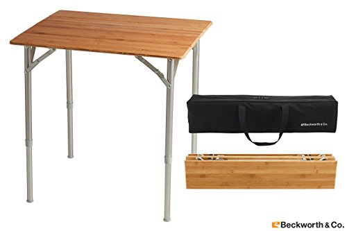 Beckworth & Co. SmartFlip Bamboo Portable Outdoor Picnic Folding Table with Adjustable Height & Carry Bag - Standard - Square Extending Table