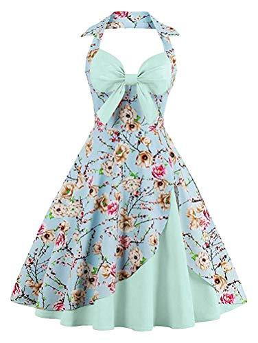 AGoGo Women's Halter Sleeveless 1950s Retro Cake Layer Style Hollywood Midi Swing Dress (Flower on Blue and Green,US-18)
