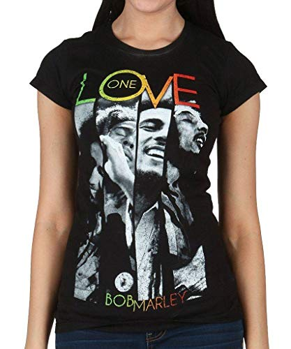 Juniors T-Shirt -Bob Marley - One Love Stripes Large