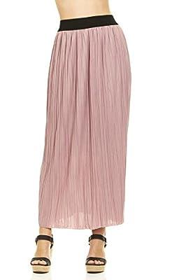 Seranoma Women's Retro Vintage Pleated Line Long Maxi Skirt