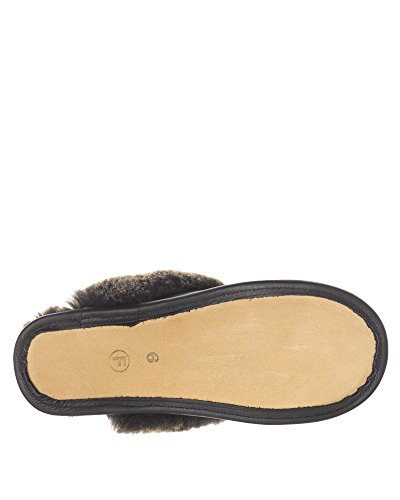 in Carrie Slipper Bow Ladies Black Sheepskin Napa 6Iwq61dX