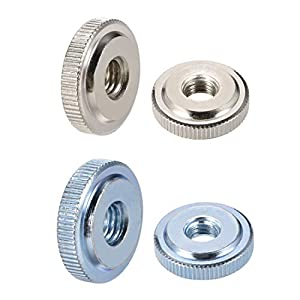 uxcell Knurled Thumb Nuts, Female Threaded Thin Type, Nickel Plating, 5 Pcs from uxcell