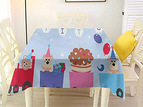 L'sWOW Square Tablecloth Rustic Kids Birthday Celebration Baby Bear Dog in Train Balloons Clouds on Pale Blue Backdrop Multicolor Tablecloth 36 x 36 Inch -