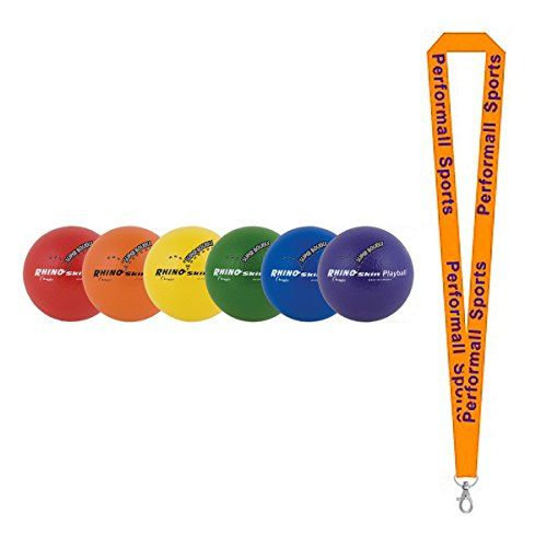 Champion Sports Rhino Skin Ball Set Assorted (Set of 6) with 1 Performall Lanyard RS64SET-1P by Performall Sports Dodgeballs