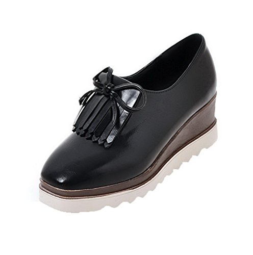AmoonyFashion Womens Fringed PU Kitten-Heels Pull-On Square-Toe Pumps-Shoes Black SlCsO