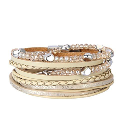 White Rhinestone Bangle - Jeilwiy Mom Leather Bracelet Multi-Layer Cuff Bangle with Magnetic Clasp Braided Casual Wrap Bracelet for Women,Teen Girls,Wife,Kids Gift