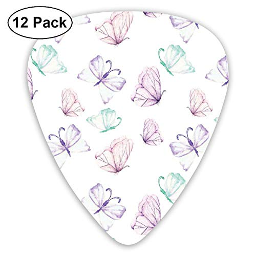 Celluloid Guitar Picks - 12 Pack,Abstract Art Colorful Designs,Watercolor Tender Purple And Mint Butterflies,For Bass Electric & Acoustic Guitars.