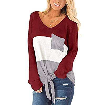 SAMPEEL Womens Waffle Knit Tops V-Neck Casual T Shirt Tie Knot Loose Fitting Sweater at Women's Clothing store