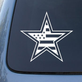 (American Flag in Star - Car, Truck, Notebook, Vinyl Decal Sticker #2279 | Vinyl Color: White)