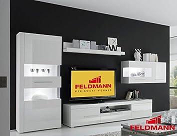 Wohnwand Anbauwand 440901 Weiß / Weiß Hochglanz 4 Teilig