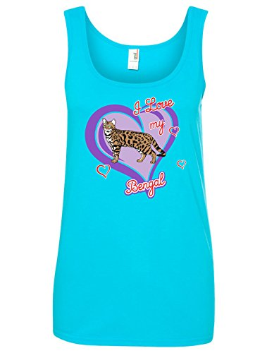 Tenacitee Women's Bengal Cat Tank Top, Medium, Caribbean Blue