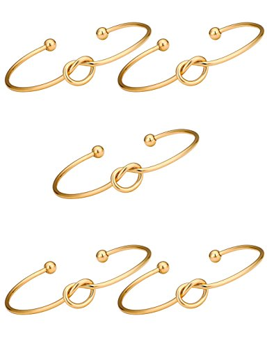 """""""I Can't Tie The Knot Without You"""" Stretch Bridesmaid Gift Bracelets for Women- Set of 1,3,4,5,6"""