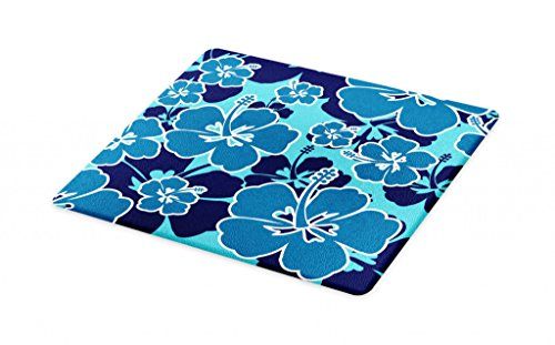 Lunarable Blue Floral Cutting Board, Tropical Hibiscus Silhouettes Blooming Hawaiian Nature, Decorative Tempered Glass Cutting and Serving Board, Small Size, Pale Blue Navy Blue Petrol Blue