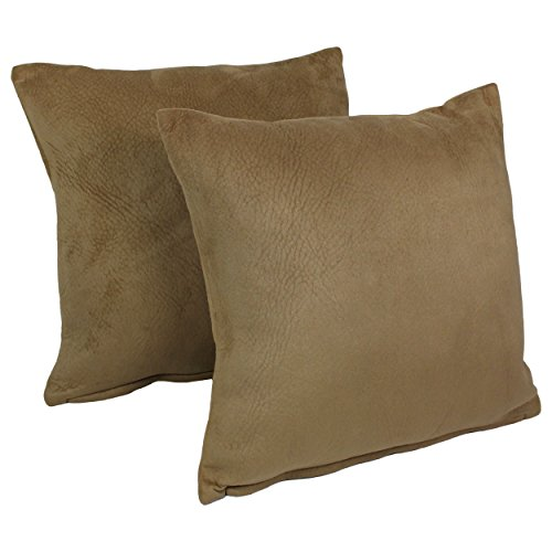 Blazing Needles Solid Faux Suede Square Throw Pillows (Se...