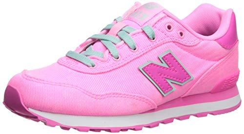 New Balance Girls' 515v1 Running Shoe, GLO/Peony, 12 W US Little Kid