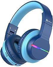 Bluetooth Kids Hoofdtelefoon over het oor, iClever BTH12, Kleurrijke LED-verlichting, Kids Draadloze Hoofdtelefoon Over Ear met 74/85/94dB Volume Beperkt, 40H Speeltijd, Bluetooth 5.0, Ingebouwde Mic voor School/Tablet/PC