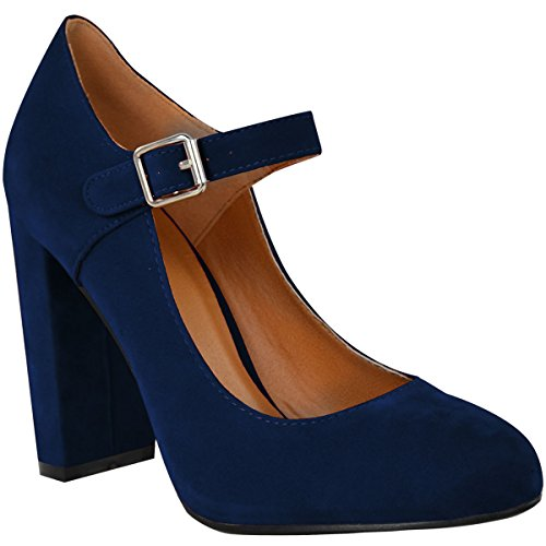 Fashion Thirsty Womens Block High Heels Court Shoes Mary Jane Strappy Formal Office Size 8