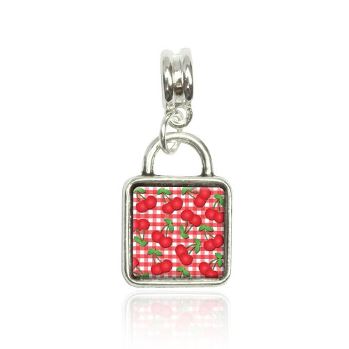 Cherries Pattern Red Checkered Euro European Italian Style Bracelet Bead Sqr Charm