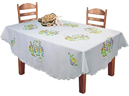 (Creative Linens Easter Bunny Egg Tablecloth 68x84 Oval Spring Fabric Table Cloth White)