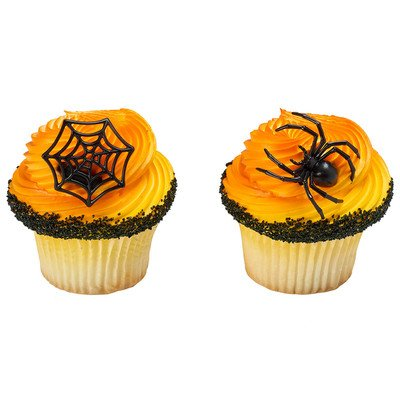 12 ct. Ghoulish Spider and Web Cupcake Rings -