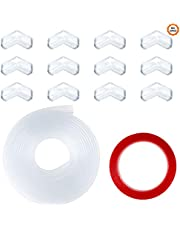 16 PCS Clear Corner Protectors 1 Roll 9.8 Feet Transparent Bumper Strip with Double-Sided Tape Soft Table Corner Guards for Cabinets Tables Drawers