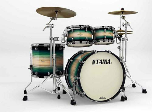 Tama Starclassic Maple Exotix Pacific Walnut Shell Kit 4pc - Black Nickel Hardware - Emerald Pacific Walnut Burst