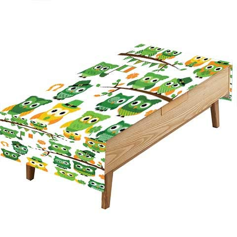 PINAFORE Polyester Tablecloth Table Cover Day Decor Irish Owls Leprechaun Hats on Trees Shamrock Leaves Horseshoe Green Farmhouse Décor, Christmas Everyday Use W54 x L72 INCH]()