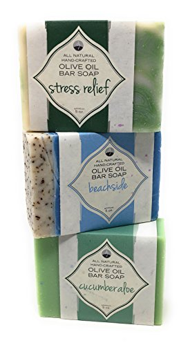 Handmade Olive Oil Bath Body Soap Bar Beach Themed Fragrances Sampler Pack Set – Beachside, Stress Relief and Cucumber Aloe-Natural Bathroom Hand and Scrub-Scented Hydrating Facial Travel Full - Lakes Beach Buy Palm Best