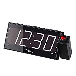 OnLyee Projection Clock with FM Radio, 7 LED Display, Wall Ceiling Clock, Nap/Sleep Timer, 3 Dimmer, Dual Alarm and Dual USB Ports for Wall,Travel, Bedrooms, Ceiling, Kitchen, Desk, Shelf