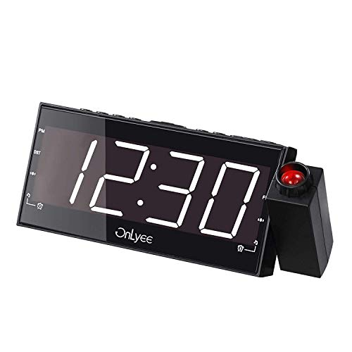 OnLyee Projection Alarm Clock (White Display with FM Radio)