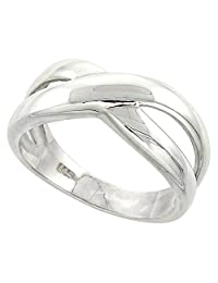 Sterling Silver Freeform Ring Flawless finish 3/8 inch wide, sizes 6 to 10