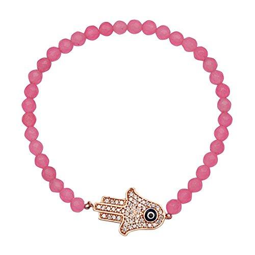 Sterling Silver Rose Plated Cotton Candy Pink Faceted Quartz Bracelet Rose Hamsa